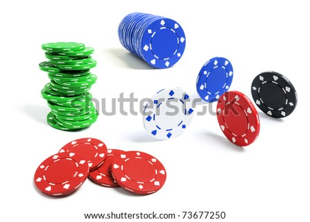 Poker Chips on Isolated White Background - stock photo