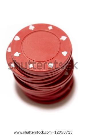 Poker chips on white - stock photo