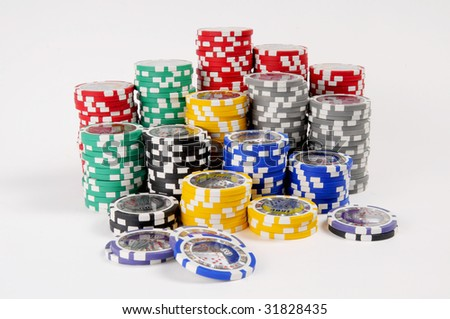poker chips stack on isolated white background