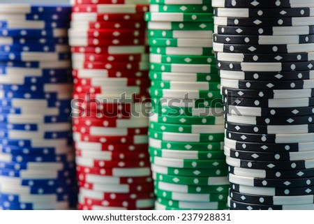 Poker Chips Stacked in a Row