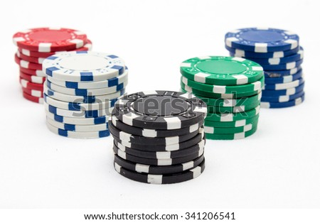 poker chips, studio shot on a white background