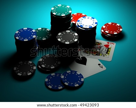 poker chips with ace and king on casino table - stock photo