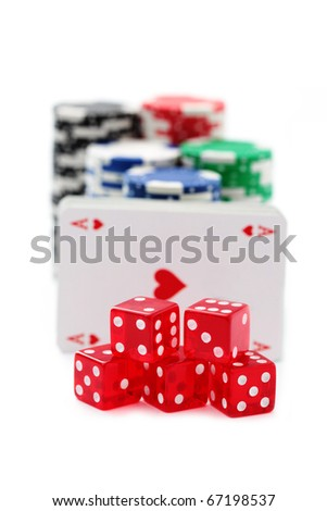 poker chips with cards  and dices on white background