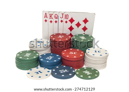 Poker chips with cards isolated