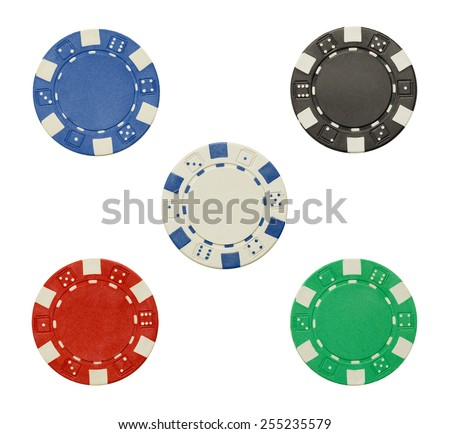 Poker Chips with Copy Space Isolated on a White Background. - stock photo
