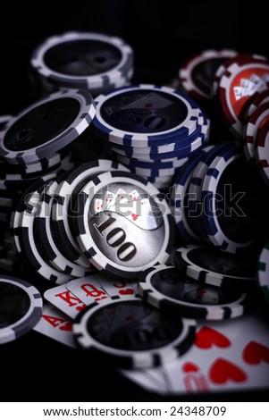 Poker game Casino gambling chips - stock photo
