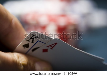 Poker Game, shallow DoF. - stock photo