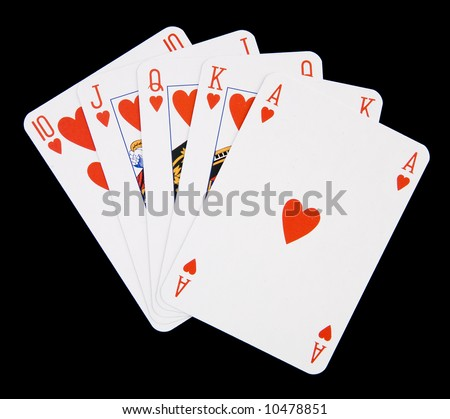 Poker hand showing royal flush with hearts. - stock photo
