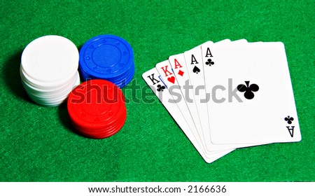 Poker hand with chips