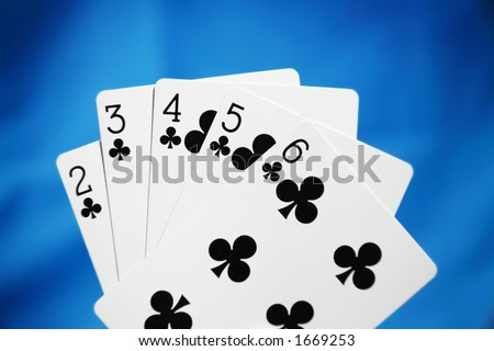 Poker Hands - A straight flush - stock photo