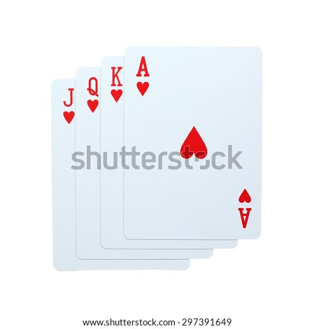 Poker hearts of J Q K A playing cards isolated on white background - stock photo