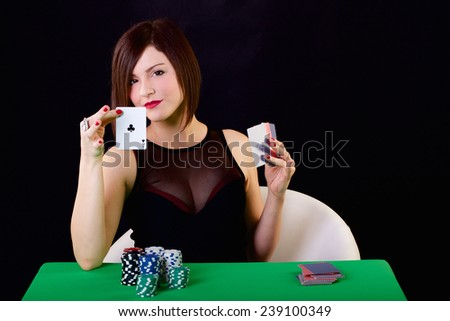 poker lady - stock photo