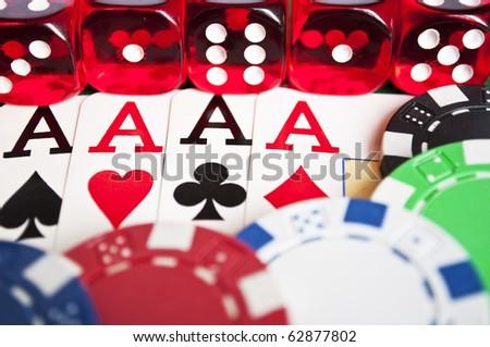 Poker objects macro shot - stock photo