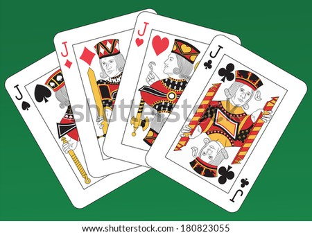 Poker of Jacks playing cards on a green background - stock photo