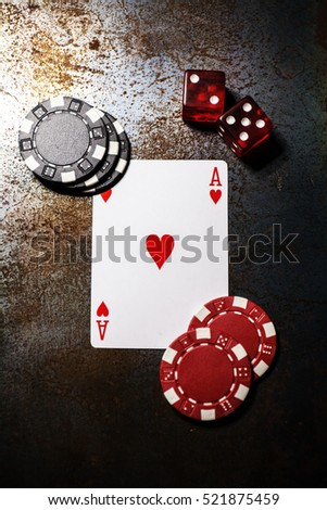 Poker play. Ace of hearts. Poker chips and dice.