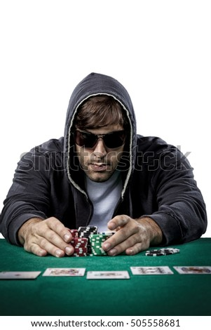Poker player taking poker chips after winning, , on a white background.