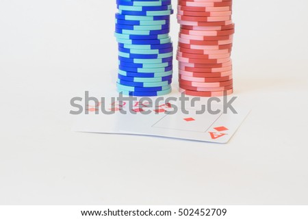 poker  playing chips blue, red colors and cards