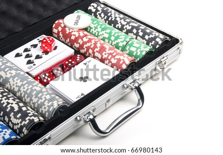 Poker set in a metallic case isolated on a white background. Close-up - stock photo