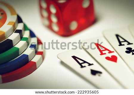 Poker set in macro - stock photo