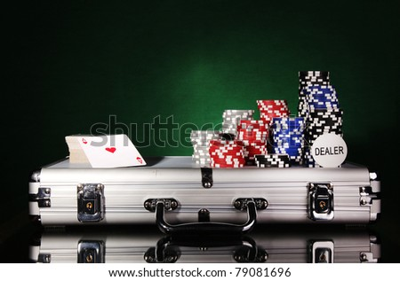 Poker set with case - stock photo