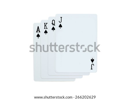 Poker spades of J Q K A playing cards isolated on white background - stock photo
