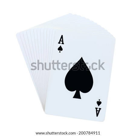 Poker spades set of playing cards isolated on white background - stock photo