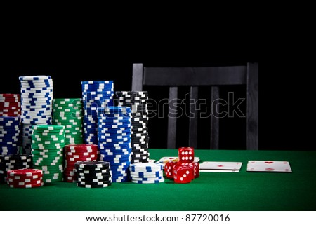 Poker table ready for player - stock photo