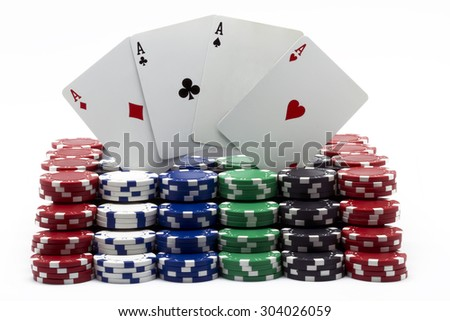 poker tokens with the four aces