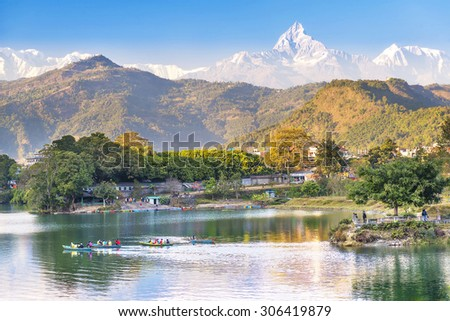 Pokhara lake and and Annapurna  in Nepal