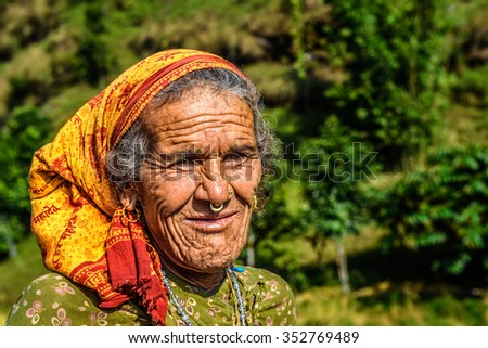 POKHARA, NEPAL - OCTOBER 26, 2015 : Portrait of a very old farmer woman