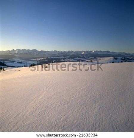Poland. A panoramic view on Tatra Mountains at dawn.