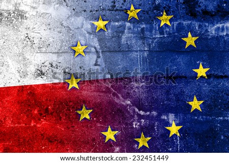 Poland and European Union Flag painted on grunge wall - stock photo