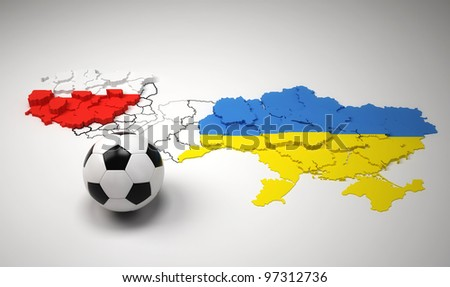 Poland and Ukraine national map, with flags, Euro 2012. - stock photo