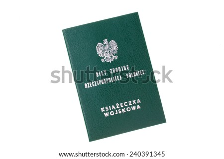 Poland army soldier ID book on a white background - stock photo