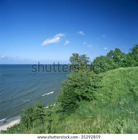 Poland. Baltic Sea. View point from hills near Chlapowo village on the open sea.