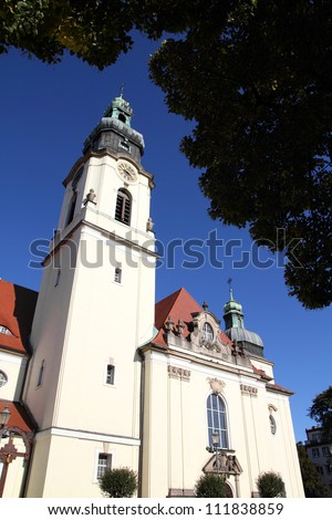 Poland - Bydgoszcz, city in Kuyavia (Kujawy) region. Baroque revival church of the Most Holy Heart of Jesus Christ.