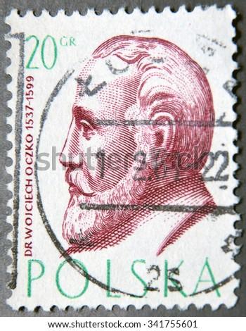 POLAND - CIRCA 1957: a postage stamp of Poland shows Wojciech Oczko, Philosopher and Physician - stock photo