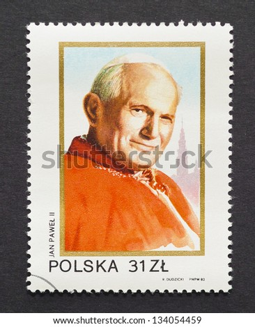 POLAND - CIRCA 1982: a postage stamp printed in Poland showing an image of pope John Paul II, circa 1982. - stock photo
