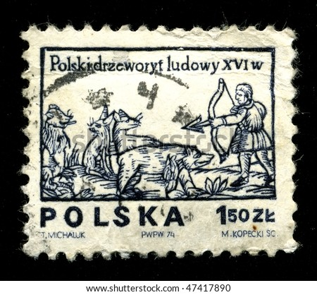 POLAND - CIRCA 1974: A postage stamp printed in the Poland shows image of the history of the fine arts of Poland, drawing 16 of a century, circa 1974