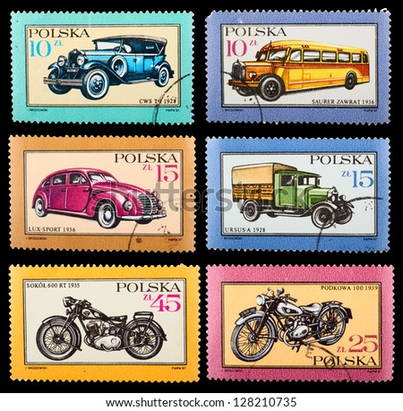 POLAND - CIRCA 1987: A set of postage stamps printed in POLAND shows historic cars, series, circa 1987 - stock photo
