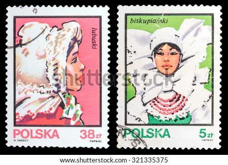 POLAND - CIRCA 1983: A set of postage stamps printed in the Poland, shows Girl in national dress, circa 1983 - stock photo