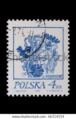 POLAND - CIRCA 1968: A stamp is printed in Poland, flower, let out CIRCA in 1968.