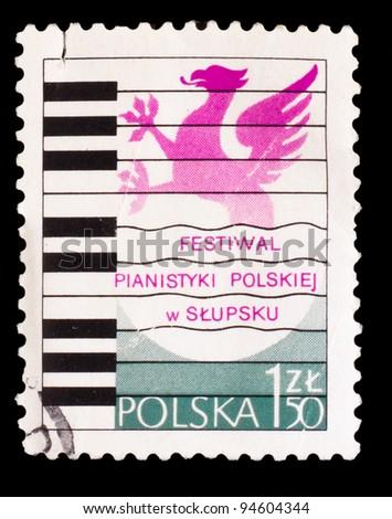 POLAND - CIRCA 1975: A stamp printed by POLAND, Polish Piano Festival in Slupsk, circa 1975 - stock photo