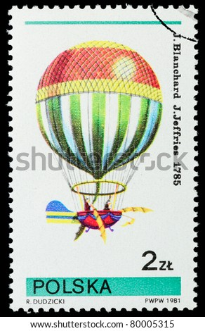 POLAND - CIRCA 1981: A stamp printed by Poland, shows Balloon, circa 1981