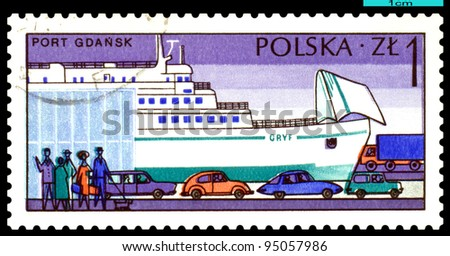 "POLAND - CIRCA 1976: a stamp printed by Poland, shows  Ferry "" Gryf "" and cars, Gdansk,  circa 1976."