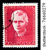 POLAND - CIRCA 1984: A stamp printed by Poland, shows Marie Sklodowska Curie, circa 1984. - stock photo