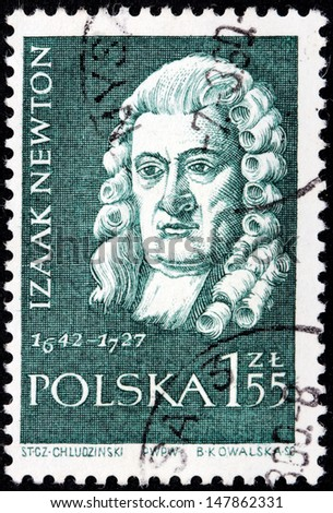 POLAND - CIRCA 1959: A Stamp printed by POLAND shows Sir Isaac Newton - the great English physicist, mathematician, public figure, circa 1959 - stock photo