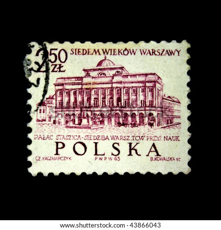 POLAND - CIRCA 1965: A stamp printed in Poland devoted 700 years of Warsaw and shows Palac Staszica, circa 1965