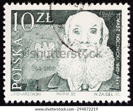 "POLAND - CIRCA 1985: A stamp printed in Poland from the ""Leaders of Peasants Movement "" issue shows Tomasz Nocznicki, circa 1985.  - stock photo"
