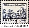 "POLAND - CIRCA 1974: A stamp printed in Poland from the ""Polish Folklore. 16th century Woodcuts (1st series)"" issue shows a hunter and wild animals, circa 1974. - stock photo"